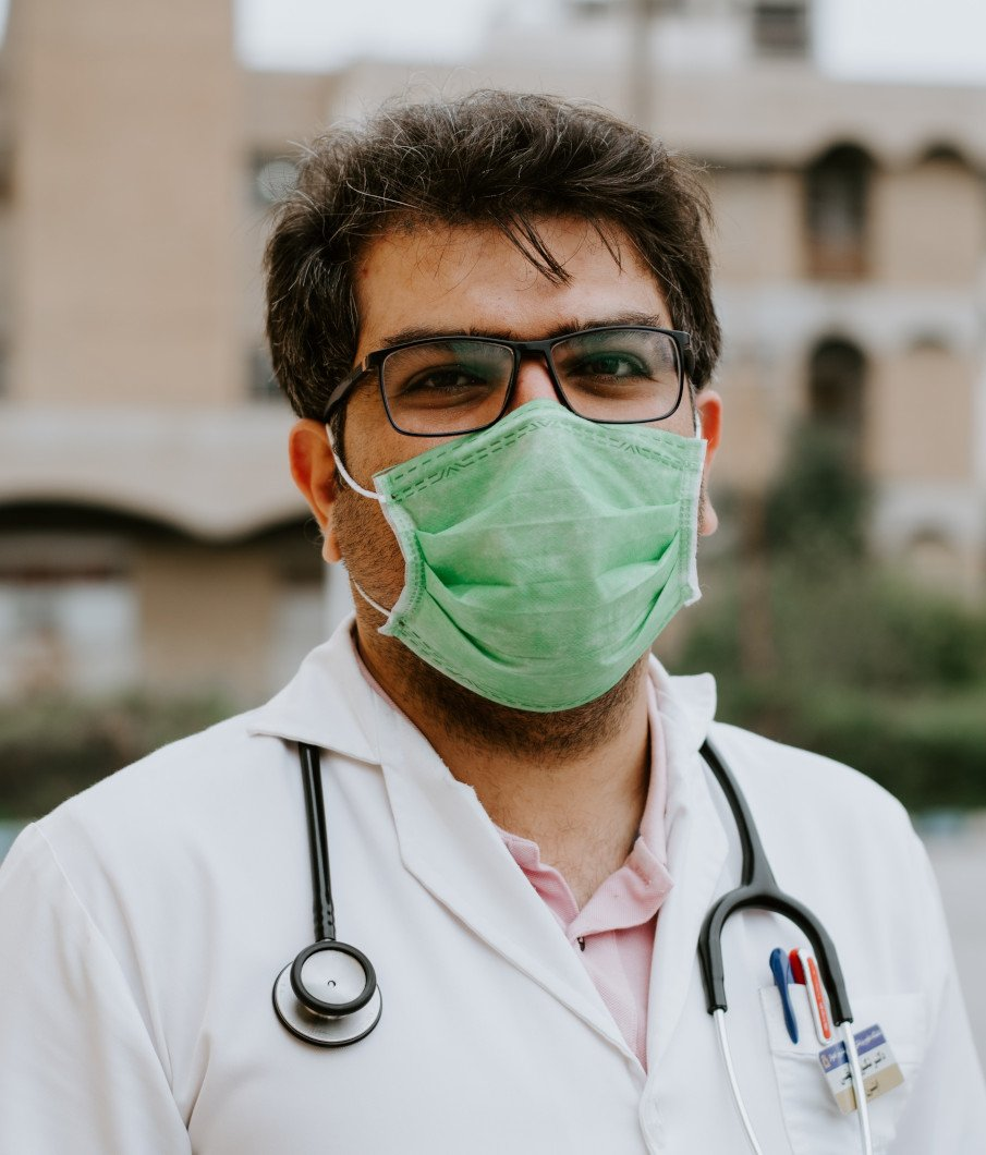 portrait of a doctor wearing a surgeon mask