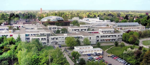 FU Berlin Campus from aerial view