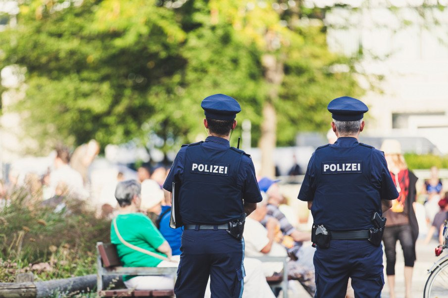 two police officers guarding a street