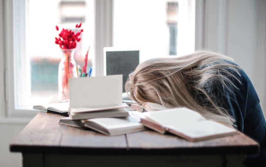 woman tired of studying