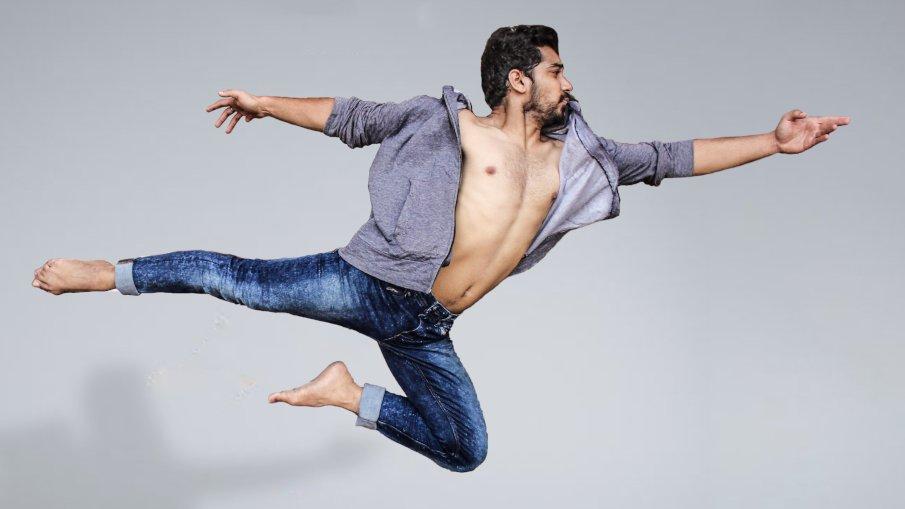 man jumping ballet style