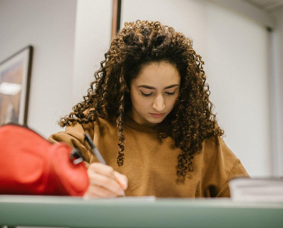 girl filling an application