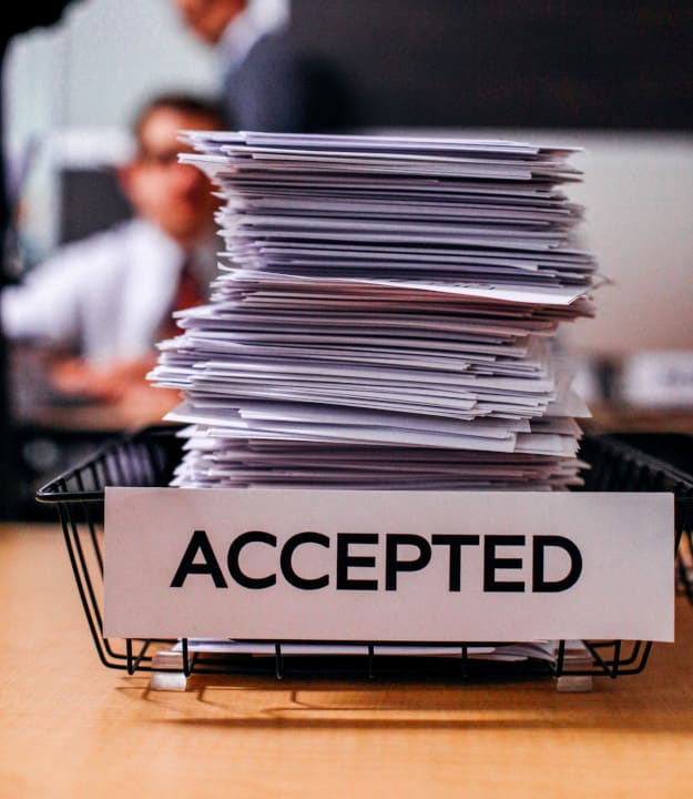 documents of people being accepted
