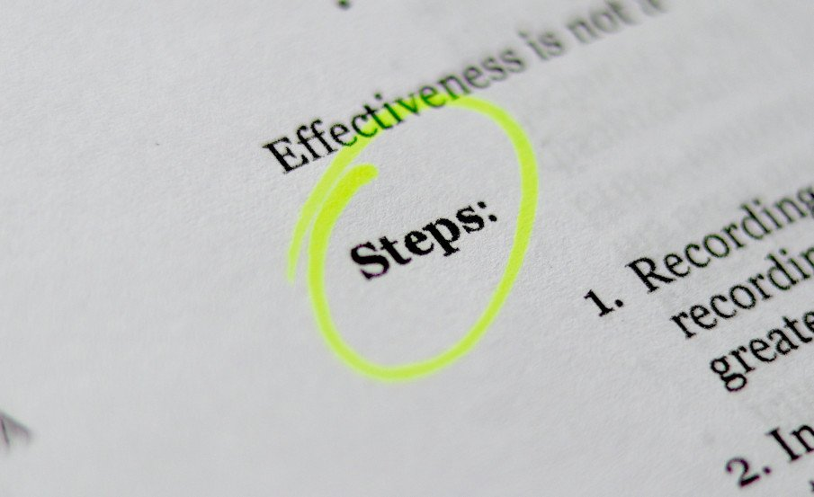 text with the word steps highlighted