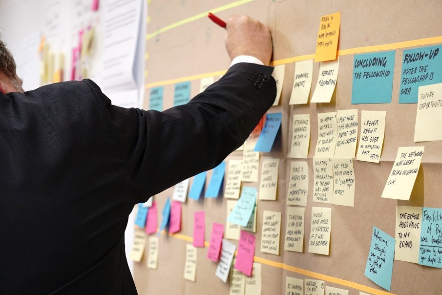 man with a lot of post-its on a board