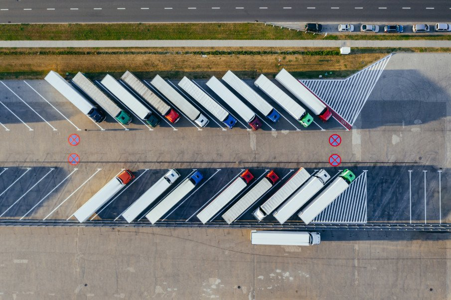 aerial view of a lot of trucks