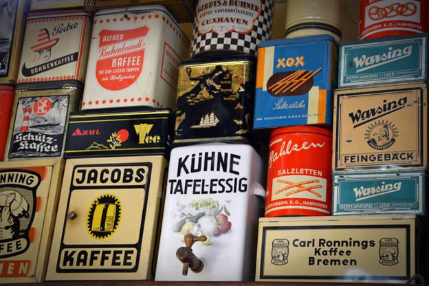 German products in German language written on them