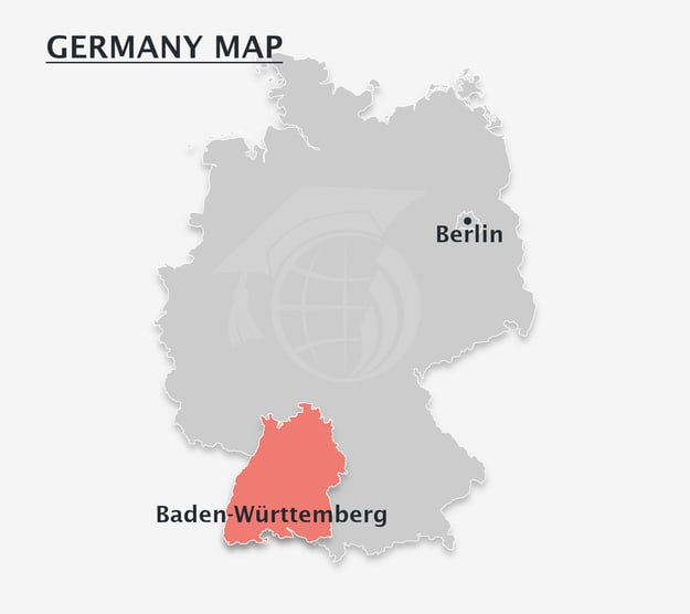 germany map showing the Baden-Württemberg state and Berlin locations