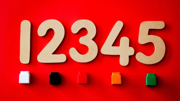numbers from 1 to 5